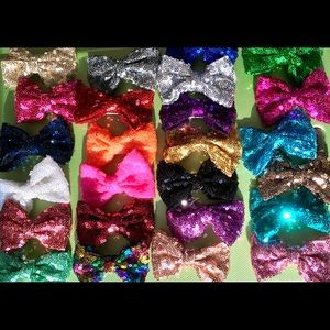 🎀New! 25 Sparkly Sequin Hair Bows Clips🎀